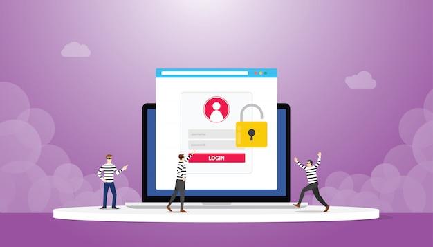 Het stelen van informatie gegevens login wachtwoord phishing met dief team met moderne vlakke stijl