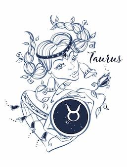 Het sterrenbeeld taurus als een mooi meisje. horoscoop.