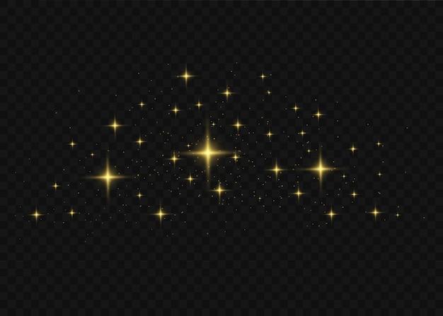 Het stof is geel. gele vonken en gouden sterren schijnen met speciaal licht.