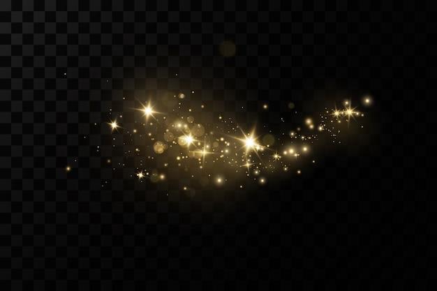 Het stof schittert met gouden sterren