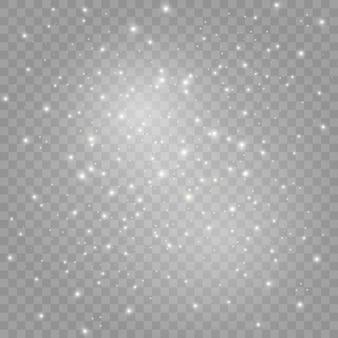 Het stof vonkt en gouden sterren schijnen met speciaal licht.