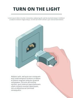 Het stopcontact activeert, bedrijfsconcept elektrische stekkerverbindingen met isometrische plaats voor uw tekst