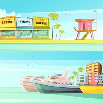Het strand horizontale banners van miami in beeldverhaalstijl