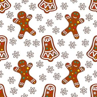 Het suikergoed naadloos patroon van de peperkoek op witte achtergrond