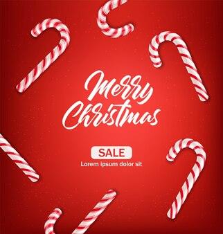 Het suikergoedriet van kerstmis, realistisch rood geïsoleerd suikergoed, vrolijke kerstmis, gelukkig nieuw jaar, de winterdecor, zoet dessert, de illustratie van de verkoopbanner