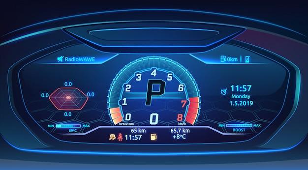 Het supercar dashboard van de neonsportwagen met snelheidsmeter, modern automobiel controlebord, illustratie