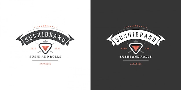 Het sushiembleem en het kenteken japanse voedselrestaurant met sushizalm rollen de aziatische vector van het keukensilhouet