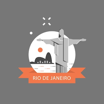 Het symbool van brazilië, beroemd oriëntatiepunt, het standbeeld van christus de verlosser