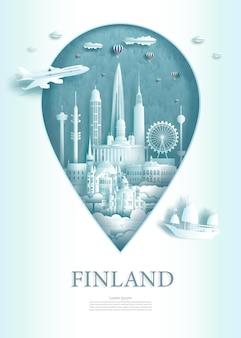 Het symbool van de illustratiespeldpunt met oriëntatiepunten van de oude architectuur van finland