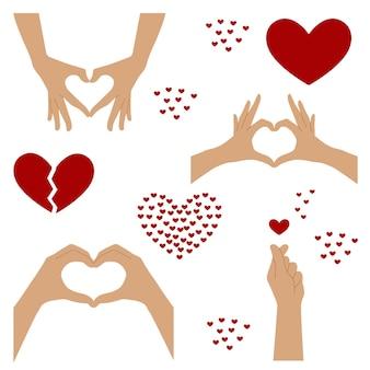 Het symbool van het hart wordt gevormd uit de handen. twee handen vouwden hun vingers in de vorm van een hart. set van harten en gebaren van harten uit handen. stijlvol, modieus. vector. geïsoleerd