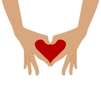 Het symbool van het hart wordt uit de handen gevouwen. twee handen vouwden hun vingers in de vorm van een hart.