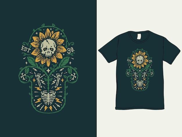 Het t-shirtontwerp in vintage stijl met zonnebloemschedel