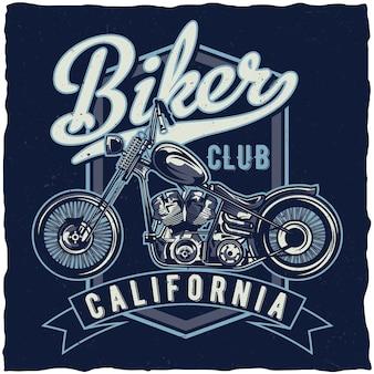Het t-shirtontwerp van het motorfietsthema met illustratie van custumfiets