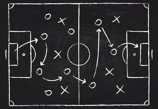 Het tactische schema van het voetbalspel met voetbalsters en strategiepijlen.