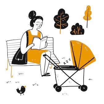 Het tekenkarakter dat een beginnende moeder op de parkbank leest.