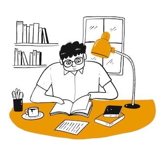 Het tekenkarakter van mensen die een boek lezen.