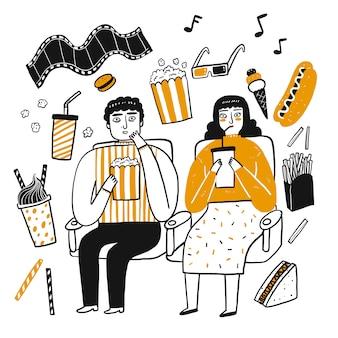 Het tekenkarakter van mensen, popcornliefhebber.