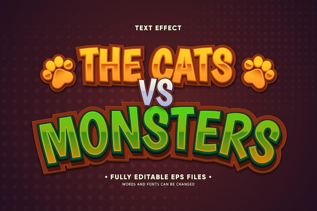 Het teksteffect auto's versus monsters