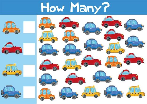 Het tellen van auto's spelillustratie voor kinderen in vectorformaat