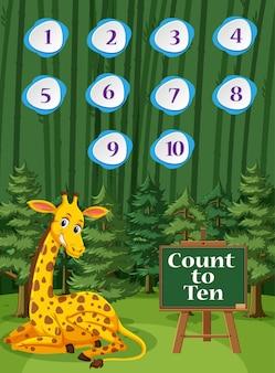 Het tellen van nummer één tot tien met giraf op de bosachtergrond