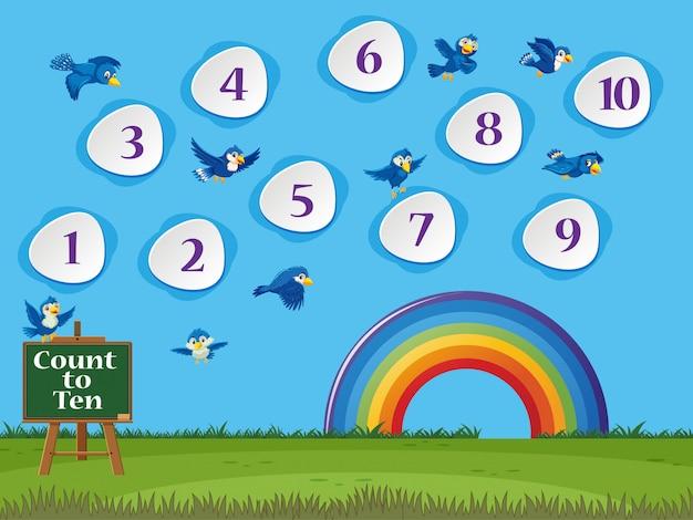Het tellen van nummer één tot tien met groen gras en blauwe hemelachtergrond