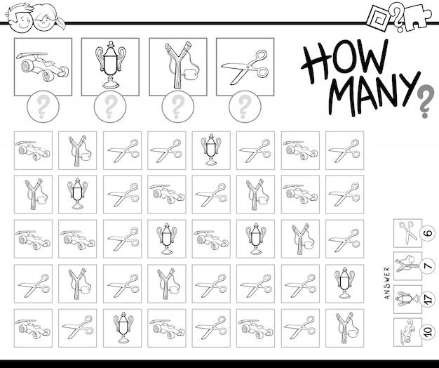 Het tellen van objecten spel kleurboek