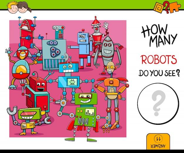 Het tellen van robots educatief spel voor kinderen