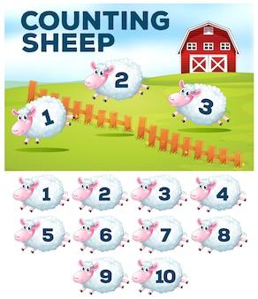 Het tellen van schapen boerderij concept