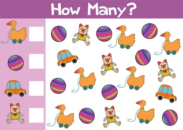 Het tellen van speelgoedspelillustratie voor voorschoolse kinderen in vectorformaat