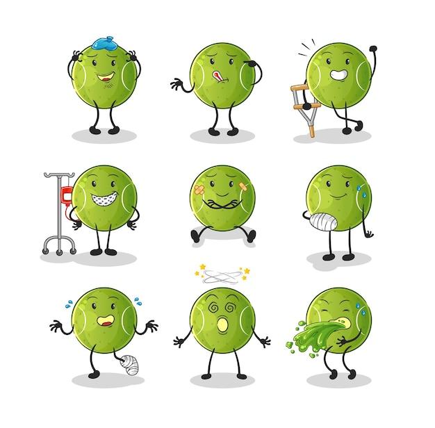Het tennisbal zieke groepskarakter. cartoon mascotte