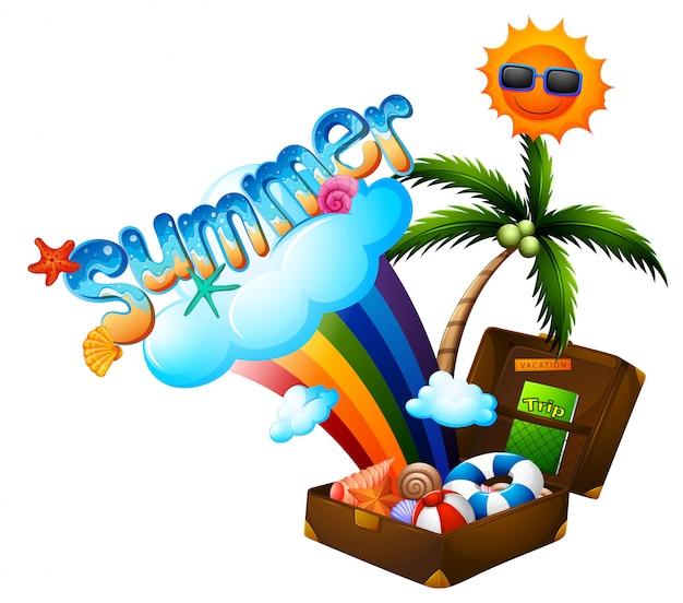 Het thema van de zomer met koffer en zon