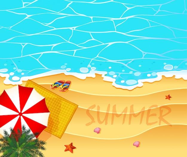 Het thema van de zomer met oceaan en strandachtergrond