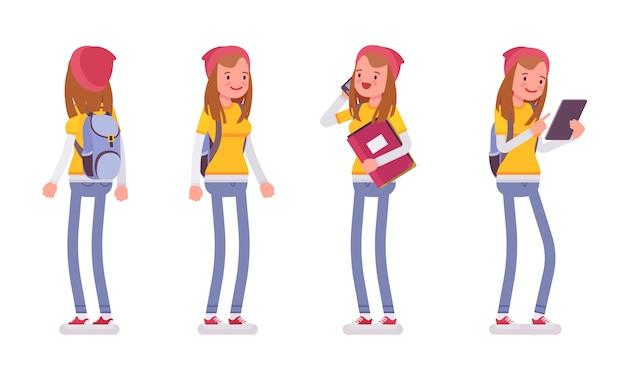 Het tienermeisje in status stelt