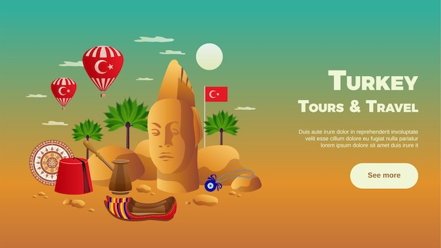 Het toerismesamenstelling van turkije met vlakke oriëntatiepunten en sightseeingsymbolen