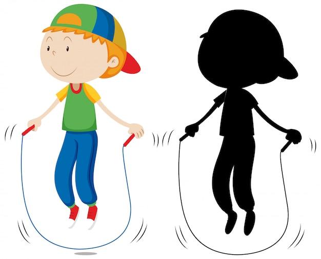 Het touwtjespringen van de jongen en zijn silhouet