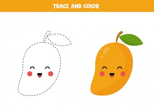 Het traceren en kleuren van schattige cartoon kawaii mango.