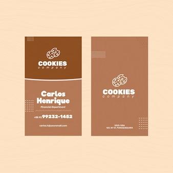 Het tweezijdige visitekaartje van chocoladekoekjes