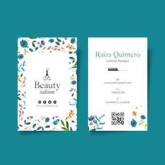 Het tweezijdige visitekaartje van de schoonheidssalon Premium Vector