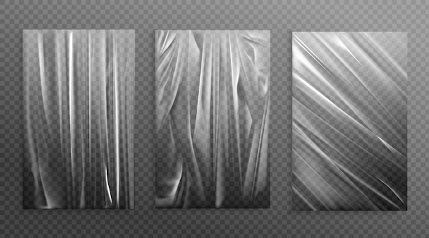 Het uitgerekte cellofaan verfrommelt gevouwen textuur