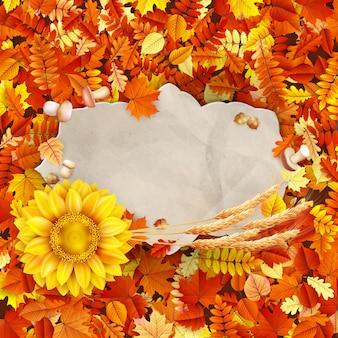 Het uitstekende document van de herfst op kleurrijke bladeren achtergrondexemplaarruimte.