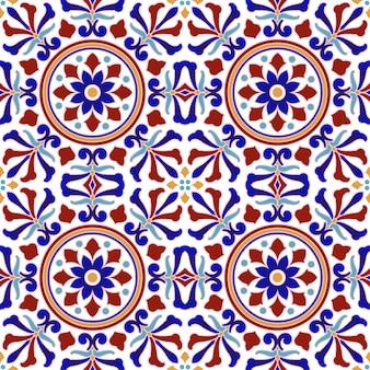 Het uitstekende tegelpatroon met kleurrijke lapwerk turkse stijl, vat bloemen decoratief element voor uw ontwerp, de mooie indische en arabische ceramische achtergrond van het behang naadloze decor samen