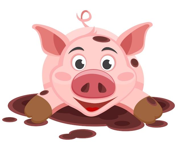 Het varken ligt in een plas modder en glimlacht op de witte achtergrond.
