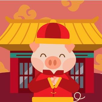 Het varken voor chinees nieuw jaar ingesteld