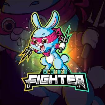 Het vechtkonijn met het drietand esport-logo-ontwerp van illustratie