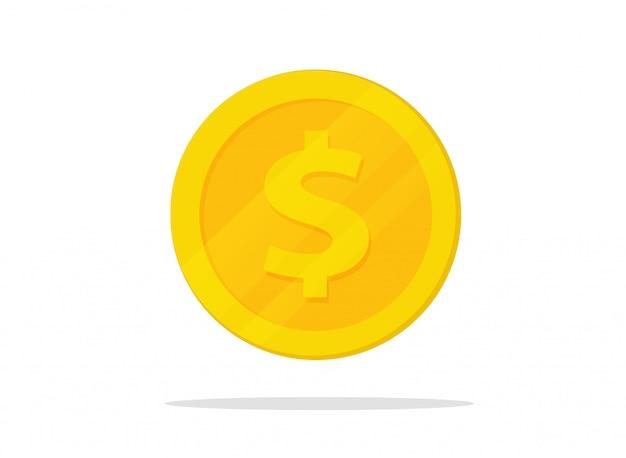 Het vector gouden muntstuk in vlak ontwerp isoleert op wit