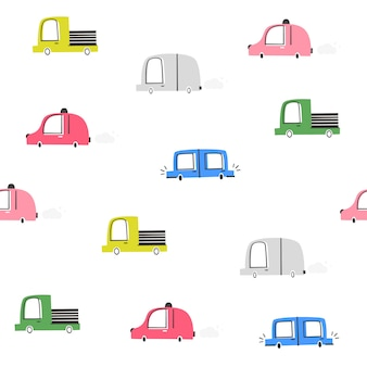 Het vector naadloze patroon van kinderen met auto's. doodle stijl