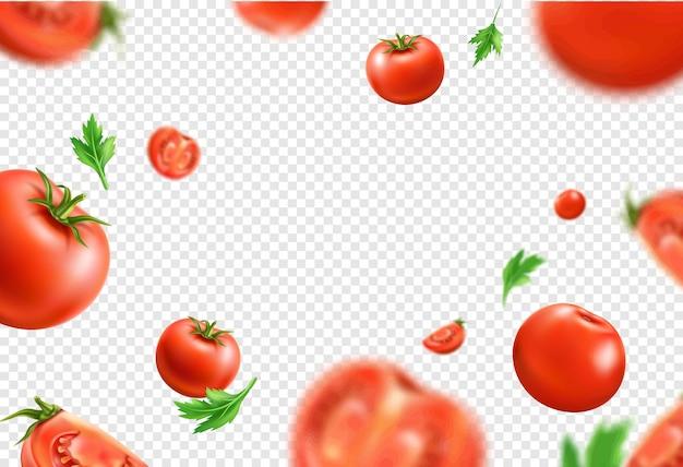 Het vector rode rijpe geheel en gesneden groenten van het tomaten naadloze patroon met groene bladeren