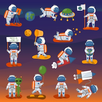 Het vector verschillende astronautenkarakter stelt in ruimte