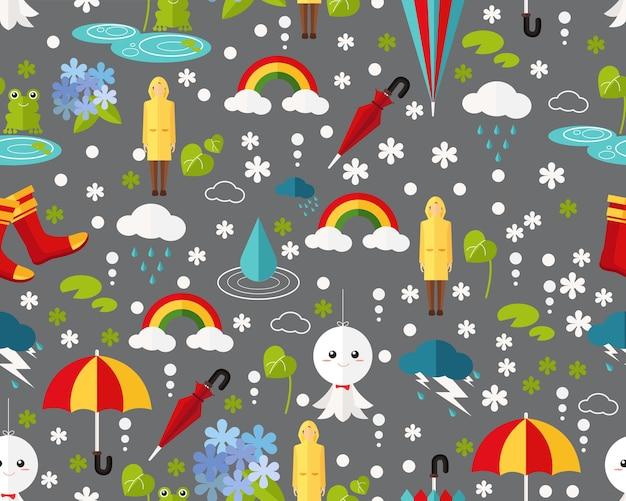 Het vector vlakke regenachtige seizoen van het textuurpatroon.