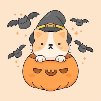 Het vectorkarakter van leuke kat in een pompoen draagt halloween-hoed en knuppels